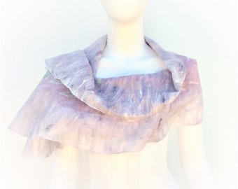 Lilac and Lace Silk and Merino Scarf Shawl