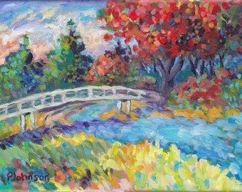 Autumn River Bridge 9x12 colorful impressionistic multicolored original Peggy Johnson Every Good Color