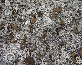 CLEARANCE Over 100 Pieces Silver Tone and Bronze Assorted Charms Each Assortment Varies Great for Schools Churches Grab Bag