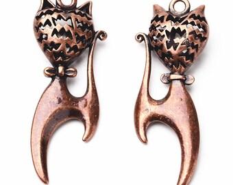 2pc 48x18mm antique copper finish hollow cat pendants-799E