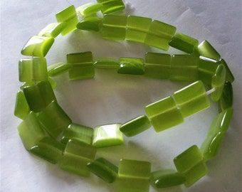 1 strand 40 pieces 9mm cat eye square shape glass beads-8113F