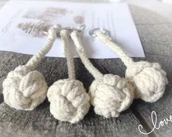 Rope Key Ring, Knot Key Chain,  Nautical Knot Keyring, Monkeys Fist