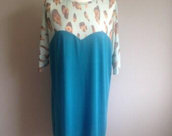 Heart-Shaped Tunic Dress - Turquoise Leopard Print