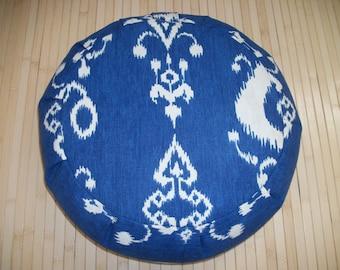 "Blue Zafu Meditation Cushion. Floor Pillow. Buckwheat Hulls. O.O.A.K. 6"" Sidewall velcro closure. 15x5. USA made"