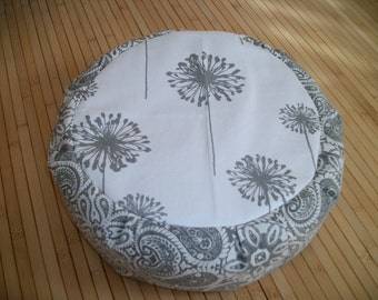 "UNFILLED Gray and White Dandelion Motif Meditation Cushion. Floor Pillow. Zafu. 14""x4.5"". 4.5""L. Velcro. Handmade, USA"