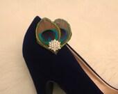Elegant Peacock Shoe Clips