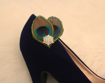 Elegant Peacock Shoe Clips
