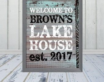 Customized Lake House / Beach House Name and Established Date - PRINT - Wood Grain Look - Frame Not Included