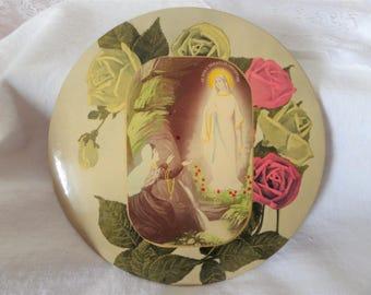 Vintage Celluloid Button Frame Our Lady of Lourdes St. Bernadette Picture 9 Inch