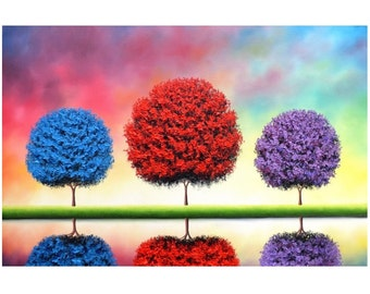 Print of Multi Colored Tree Painting, Archival Photo Print of Original Oil Painting, Affordable Art Modern Decor, Rainbow Tree Landscape