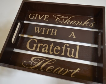 GIVE THANKS with a Grateful HEART - Hand Made & Painted Wooden Sign Wall Decor