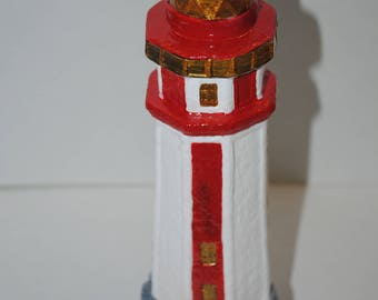 Lighthouse.Red Lighthouse.Collectibles Lighthouse.Vintage Lighthouse Ceramic Mold.Ceramic Lighthouse