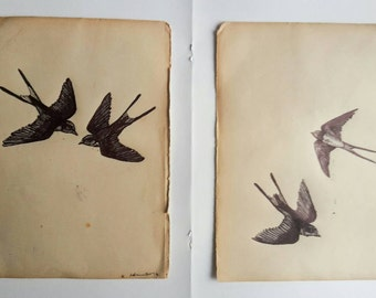 Swallows Flying Original Biro Drawing on Vintage Book Paper