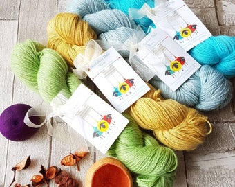 Alpaca yarn, hand dyed alpaca yarn, 4ply alpaca yarn, DK alpaca, blue alpaca yarn, yellow alpaca yarn, green alpaca yarn, aqua alpaca yarn.