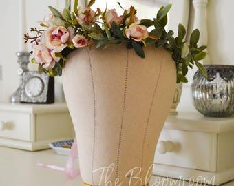 Vintage rose / Antique rose crown / Antique pink / Sage green / Classic flower crown / Romantic / Bridal flower crown / Flower hairpiece