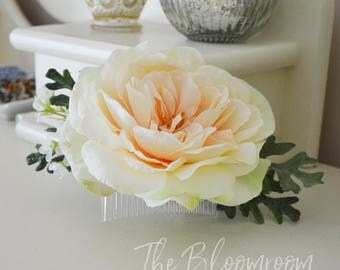 Peach rose comb / Rose flower comb / Large rose comb / Bridesmaid comb,  / Wedding hairpiece / Gift for her / Bridal decorative comb