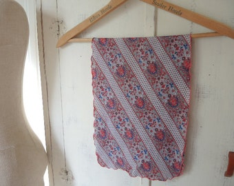 Vintage 1970s polyester scarf striped  floral 10 x 31 inches