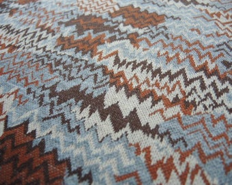 Vintage 1970s double knit polyester fabric abstract chevron zig zag blue brown white 1 yard 65 inches wide