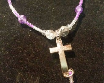 Purple Cross Charm Bracelet