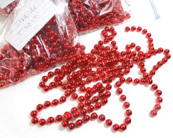 Red Christmas Tree Bead Garlands, Holiday Tree Beads, 6 strands, Vintage