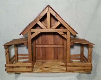 Reclaimed Wood Nativity Stable Creche Handcrafted Manger Barn With Side Pens