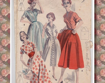 50s Wraparound One Piece Full Skirt Dress Vintage Sewing Pattern - Butterick 7995 - Size 14, Bust 34 Short Sleeves, Partially Uncut