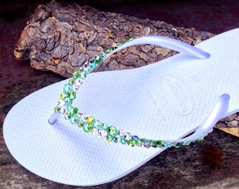 Custom Havaianas Slim Flip Flop White w/ Swarovski Crystal Rhinestone Beach Sea Glass Slippers Wedding Shoe Bling Peridot Green Jewel Bridal
