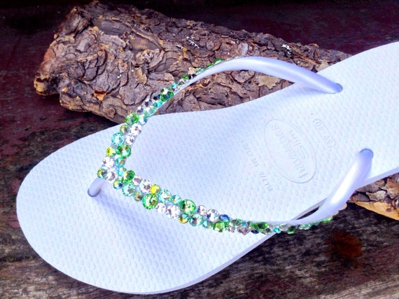 Green Custom Havaianas Slim Flip Flop w/ Swarovski Crystal Rhinestone Beach Sea Glass Slippers Wedding Shoe Bling Peridot Green Jewel Bridal
