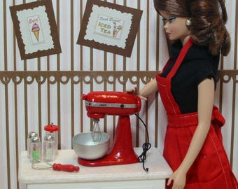 1:6 Scale Miniature RED KitchenAid MIxer for Barbie, Blythe, Momoko Dolls Dollhouse Diorama Playscale OOAK! Handcrafted Stand MIXER