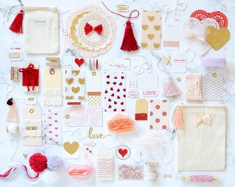 SALE!! Valentine's Day Gift Wrap, Valentine Kit, Gift Wrap Kit, Paper Kit, Embellishment Kit, Gift Wrap, Pink Gold Gift Wrap, Blush Pink Red