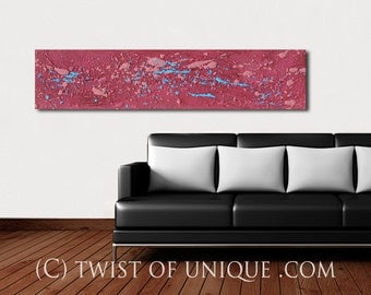 Zen Garden abstract painting / ORIGINAL Painting / abstract painting/ Textured Art  Industrial Art/ 48x12 /Mauve, blue,  electric blue