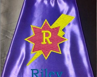 Super Hero kid's Cape,  Monogram Lightning Bolt Superhero Cape, Girls Cape, Purple  Embroidered Personalized