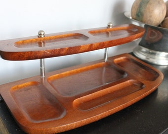 Solid wood 1960s Mid Century Two Tier desk VALET Tray Chrome accents Dresser Caddy