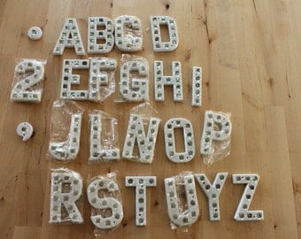 NOS Vintage Reflective Letters with Marbles, Old Railroad style,Street Sign Lettering,  plastic marquee sign letters,reflective letters