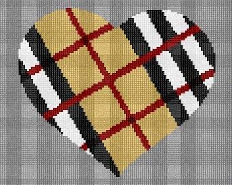 Needlepoint Kit or Canvas: Heart Camel Tartan