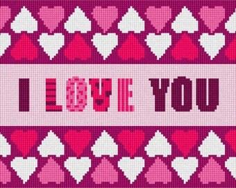 Needlepoint Kit or Canvas: Love Hearts Border