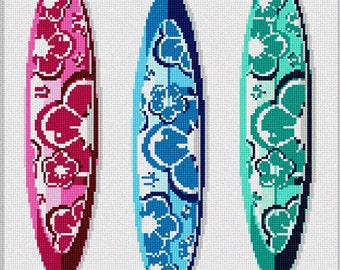 Needlepoint Kit or Canvas: Floral Surfboards