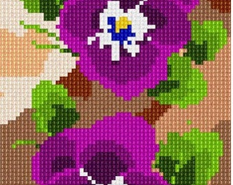 Needlepoint Kit or Canvas: Pansies