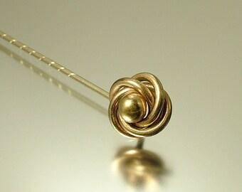 Antique/ estate 1900s Edwardian gilt metal, knot hat / stick pin - jewelry jewellery UK seller