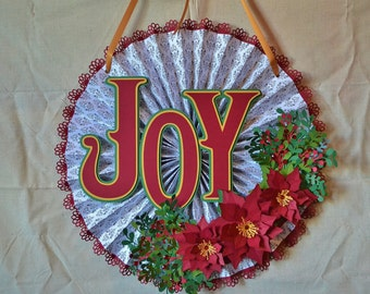 Christmas Wreath Rosette - JOY - Poinsettia and Dogwood Christmas Wreath - Holiday Home Decor - Retro Style Paper Holiday Door Decor