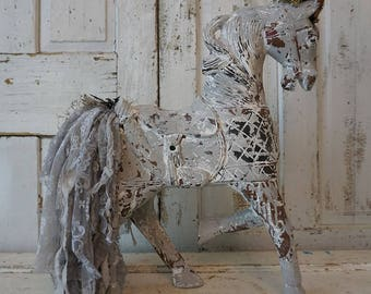 Horse statue decor lg carved wood painted gray distressed collectible statuary ornate embellished French farmhouse decor anita spero design