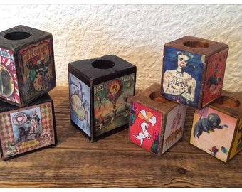 Fun Reclaimed Wood Tealight Holders
