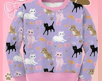 Kids Size Cute Cat Sweater Kawaii Cat Sweatshirt Pastel Cat Jumper Kitten Kitty Pattern Cute Size XS Through 3XL *Made 2 Order*