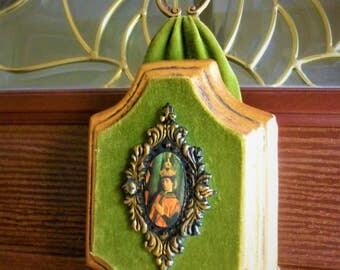 Mid Century Wall Plaque , Gilt and Velvet with Brass decorative, ellegant