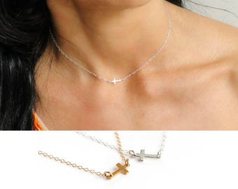 Dainty Choker Necklace, Tiny Cross Necklace, Silver Cross Necklace, Gold Cross Necklace, Gold Choker Necklace, Sideways Cross Necklace