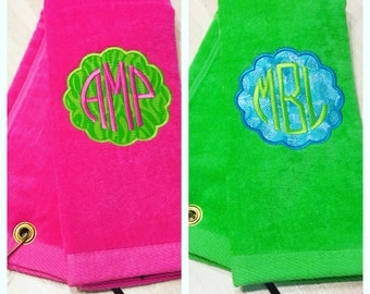 Monogram Golf Towel, Monogrammed Towel, Custom Golf Towel, Woman's Golf Towel, Golf Gifts for Women, Golf Decor, Grommet Golf Towels