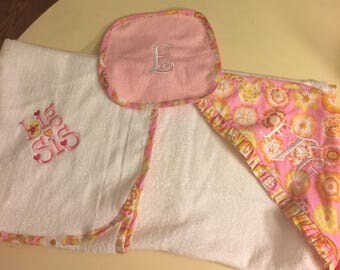 Monogrammed hooded baby towel with matching washcloth