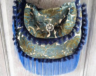 Navy olive green vintage cut velvet purse, crossbody bag, hand made vintage fabric purse, fringed gypsy purse, boho bohemian hippie bag