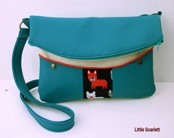 Blue and beige leatherette Sling bag and tissue Bulldog