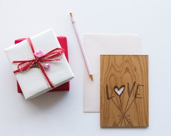 Love Balloons Wood Card [Five Year, Fifth, 5th Anniversary / Boyfriend or Girlfriend / Custom Anniversary / Valentine Card]
